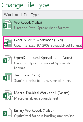 Save an Excel workbook for compatibility with earlier