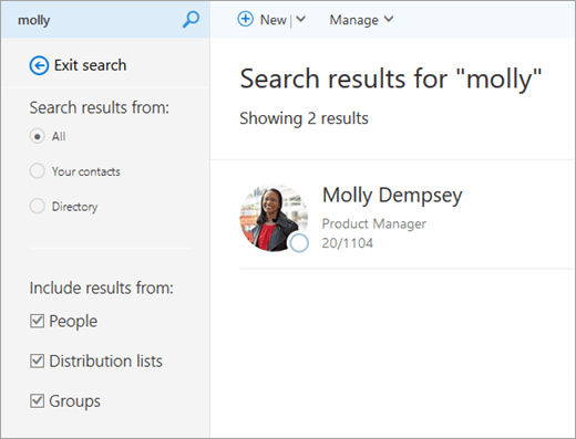 A screenshot of search results in the People page.