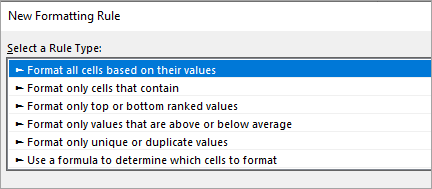Conditional formatting dialog