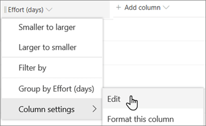 The Edit column pane in SharePoint with the Delete option selected
