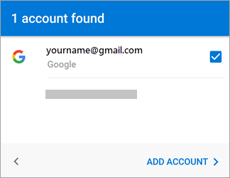 Tap Add Account to add your Gmail account to the app