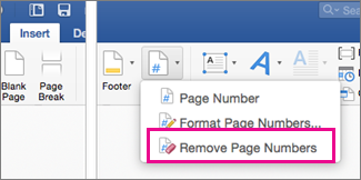 Page Number button with Remove Page Numbers highlighted