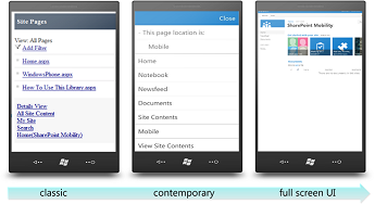 Mobile browser views - classic, contemporary, and full screen UI