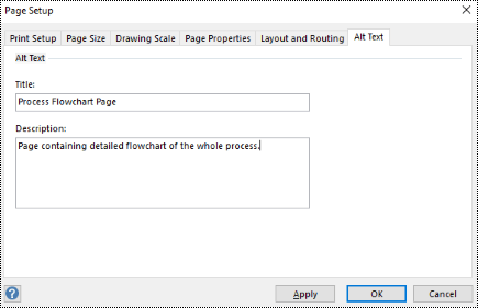 Alt text dialog for a page in Visio.