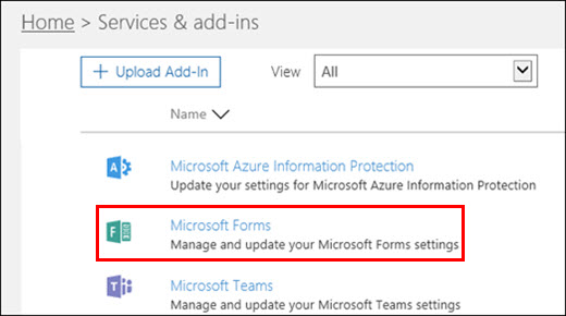 Microsoft Forms admin settings