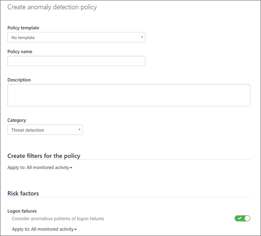 When you define an anomaly detection policy, you can use a template or create your own policy
