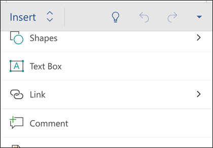 The Insert menu lets you insert shapes, links, comments and more.