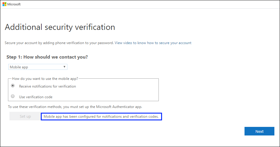 """Screenshot that shows the """"Additional security verification"""" page, with the """"Mobile app has been configured..."""" success message highlighted."""