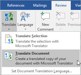 Showing Translate Document option under Review tab