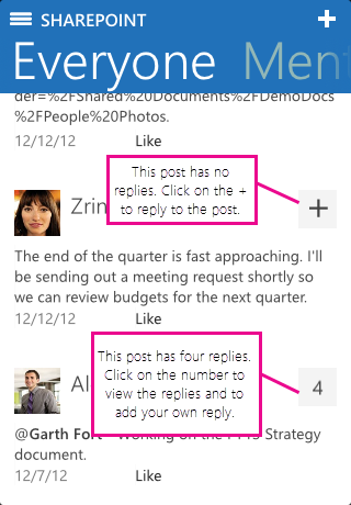 Screenshot of number of replies in iOS SharePoint Newsfeed app