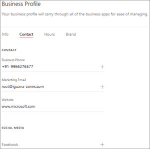 Screenshot: Busines profile contact page: Add your contact info and social media websites