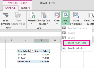 Delete a pivottable excel select entire pivottable ccuart