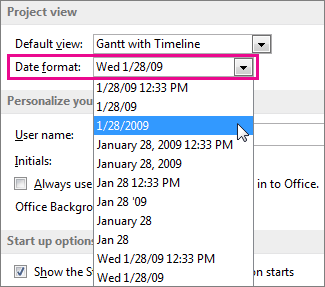 Date format list in the Project Options dialog box