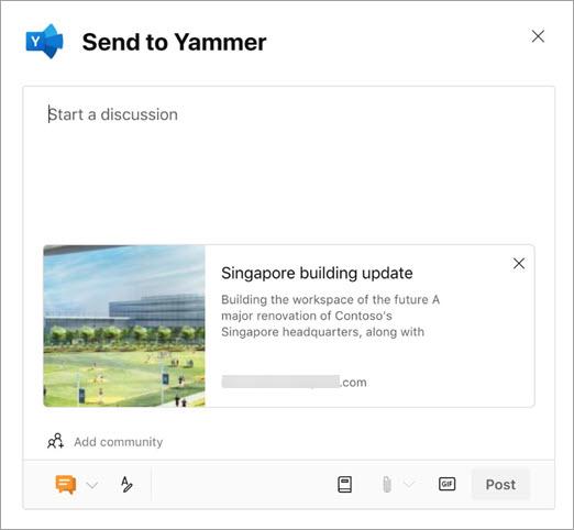 Yammer share box