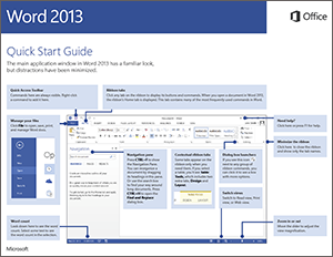Word 2013 quick start guide word for Database user manual template