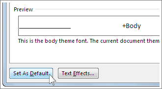 how to set default font for captions in word