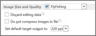 Word 2013 image size and quality options