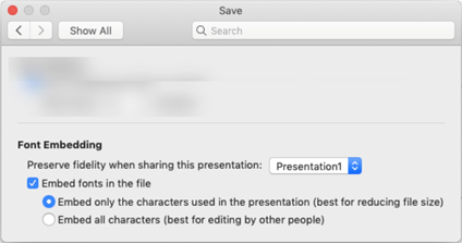 Use PowerPoint > Preferences to turn on font embedding for your file