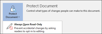 The Protect Document control has been selected, revealing the Always Open Read-Only option.