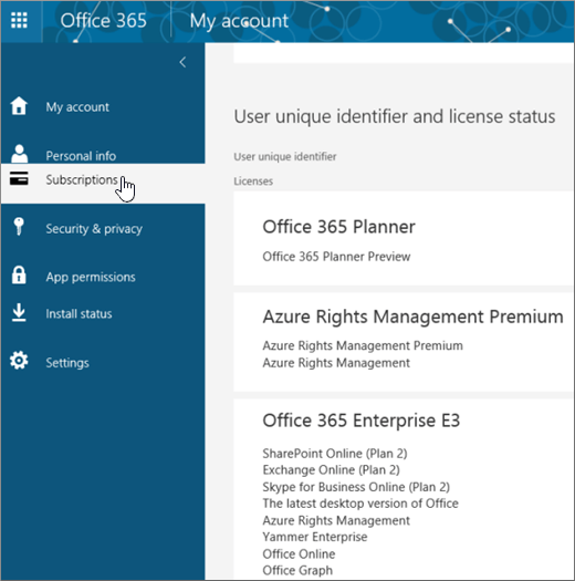 Office 365 Subscriptions page
