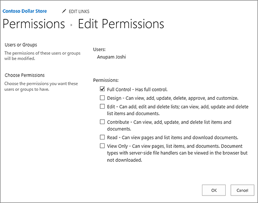 Change permisison levels in the permissions dialog