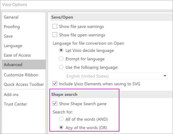 Visio Options \ Advanced \ Shape Search settings