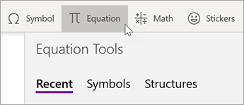 Select the Insert tab, then select Equation.
