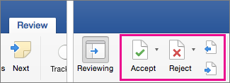 On the Review tab, Accept, Reject, and Next are hightlighted