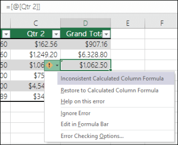 Inconsistent formula error notification in an Excel table