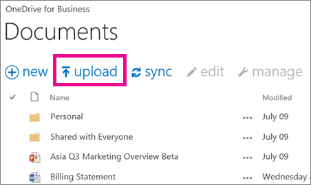Upload command in OneDrive for business