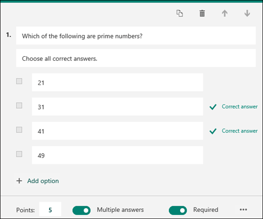 A quiz question displayed with options with correct answers marked.