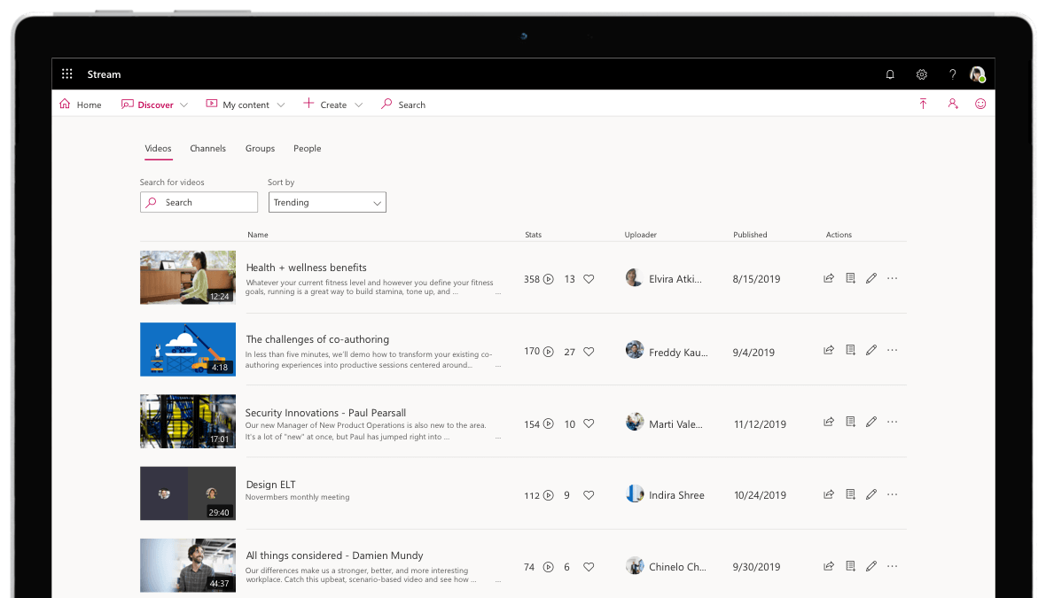 Browse Stream content from the Discover menu