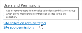 Site collection administrators highlighted under users and permissions