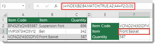 If you're using INDEX/MATCH when you have a lookup value greater than 255 characters is needs to be entered as an Array formula.  The formula in cell F3 is =INDEX(B2:B4,MATCH(TRUE,A2:A4=F2,0),0), and is entered by pressing Ctrl+Shift+Enter