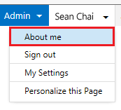 Drop-down menu with About me highlighted