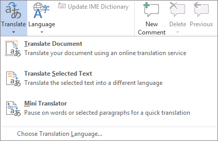 Available translation tools in Office programs