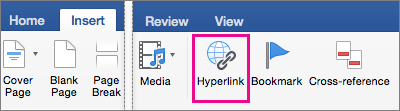 On the Insert tab, Hyperlink is highlighted
