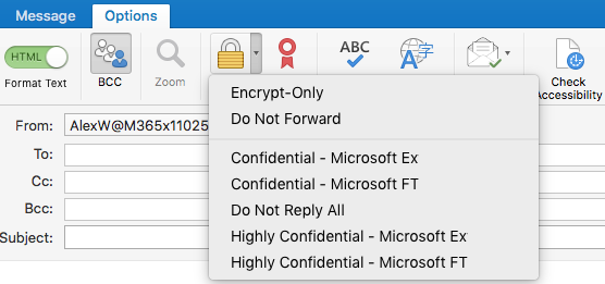 New encrypt option with Office 365 Message Encryption support, Do Not Forward and IRM templates