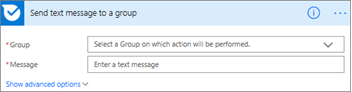 Screenshot: Enter the group name and the message that you want to send