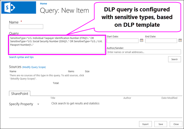 DLP query containing sensitive information types