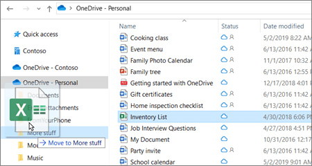 Shot of moving file into different folder in OneDrive.