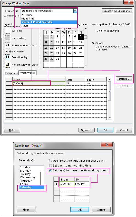 Change the working time on a calendar in Project 2013