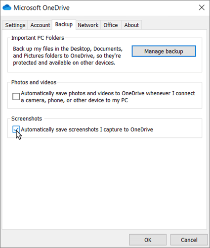 The OneDrive Settings pane, showing the Backup panel, with the 'Automatically save screenshots I capture to OneDrive' box checked.