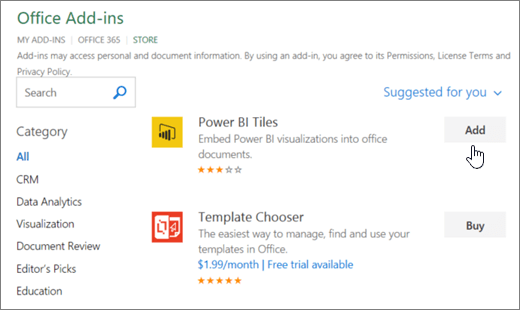 Screenshot of the Office Add-ins page where you can select or search for an add-in for Excel.