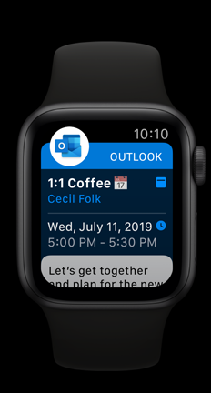 Apple Watch showing Outlook upcoming calendar appointment