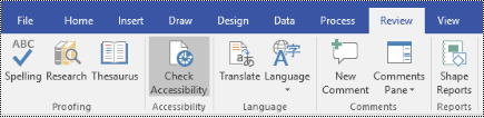 Accessibility Checker button in Visio.