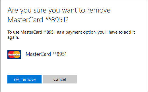 The verification page for removing a credit card.
