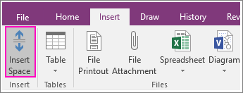 Screenshot of the Insert Space button in OneNote 2016.