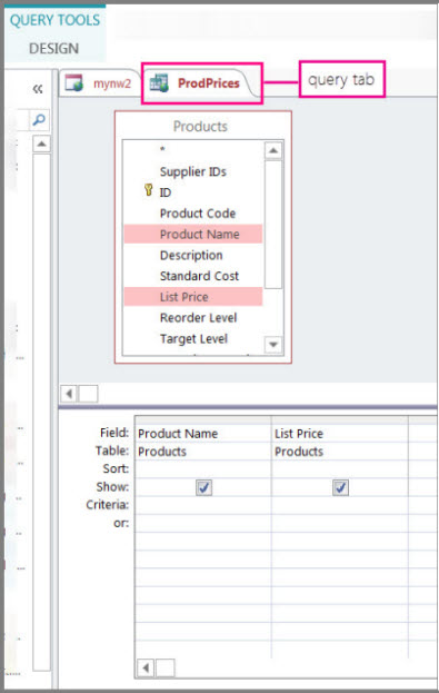 Create a simple select query access for Table design grid access