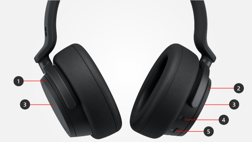 Callouts for buttons and dials on Surface Headphones